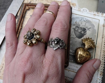 Rare Antique Medieval Monastic Skull Ring, Faith, Hope, Charity & Skull Ring, A Talisman for the Alchemist, offered by RusticGypsyCreations