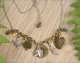 Bob Ross Happy Little Trees Inspired Charm Nature Necklace