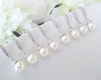 Bridesmaid Jewelry Set of 6, 6 Bridesmaid Pearl Earrings, Six Bridemsaids Earrings,Swarovski Pearl Earrings, Six, 15% Discount,Bridesmaid