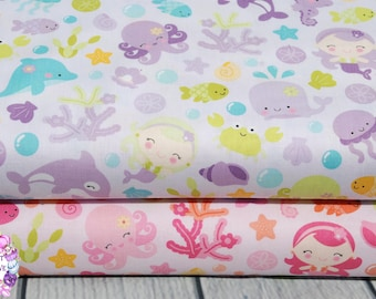 Riley Blake Under The Sea Mermaid Blue/Pink/Purple/Cotton/Fabric/Sewing/Quilting