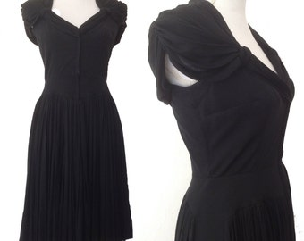 RARE 1940s Madame Grès style french pleated black silk jersey grecian dress sz M