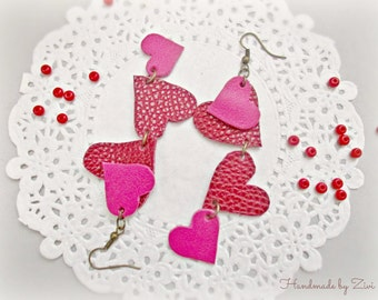 Valentine's Day Gift, Red Ruby Dangle Heart earrings, Long Heart Earrings, Leather Earrings, Hot Pink Cute Earrings, Long Leather Earrings