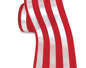 4-inch Persuezion Red and White Striped Waterproof Ribbon - 25 yards  - water resistant ribbon