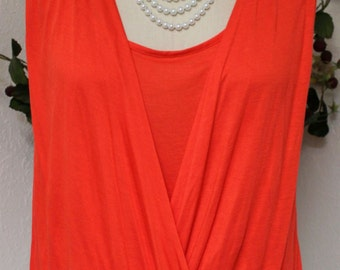 Free Shipping Adorable Soft & Comfortable Regular size Criss Cross Tunic in Orange