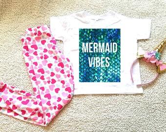 Mermaid vibes, Mermaid vibes kids shirt, graphic kid's Tshirt. Sizes 2T, 3t, 4t, 5/6T funny graphic kids shirt