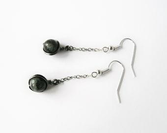 On Sale - Hypoallergenic Earrings - Labradorite Earrings - Nickel Free Stainless Steel Earwires - Black and Silver Earrings - Jewellery Sale