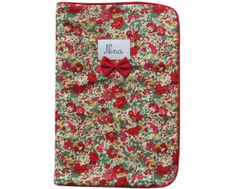 Quilted in Liberty Claire-Aude immunization booklet red piping Red