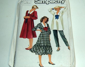 Maternity Retro Sewing Pattern 1985 Simplicity 7107~Top, Pants, Dress  NEW  UNCUT