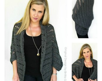 Oversized Chunky Ladies Shrug Crochet Pattern No.920 Digital Download PDF Womens Cardigan Pattern English