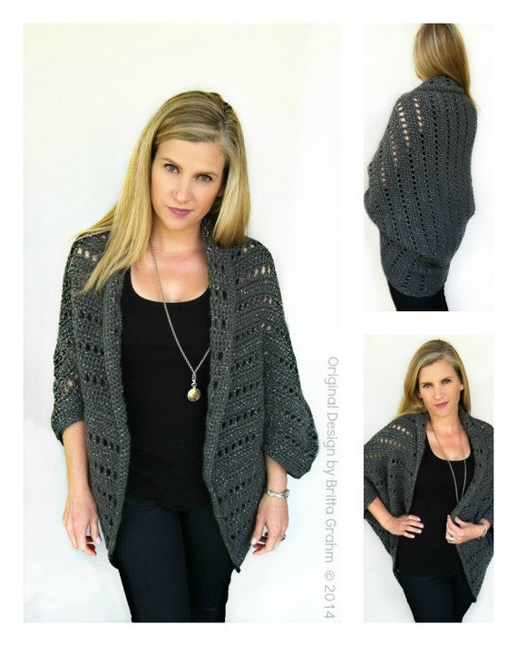 Crochet Cardigan Pattern Oversized Chunky Shrug Crochet Pattern No