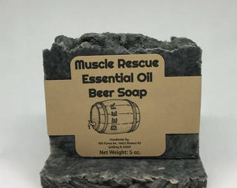 Muscle Rescue Essential Oil Beer Soap with Activated Charcoal