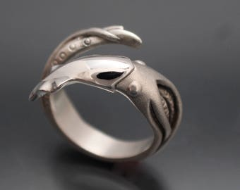 squid ring  silver