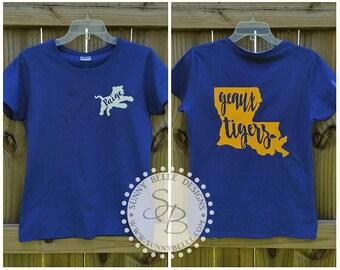 Personalized LSU Tiger Shirt; Ladies' shirt
