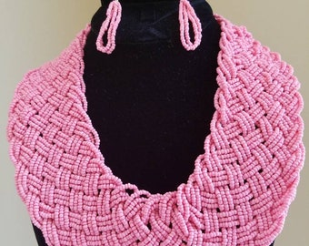 Seedbead Collar Necklace and Earrings