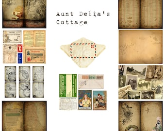 Digital Vintage Journal Kit - Aunt Delia's Cottage - Perfect for journals, cards, mixed media, scrapbooking (10 digital pages)