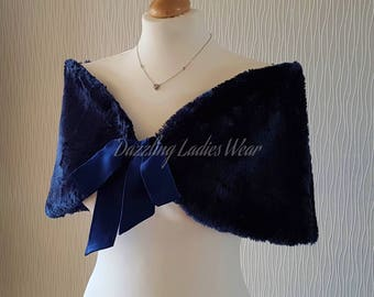 Navy / Dark Blue Faux Fur Stole With Ribbon UK 8-20/ US 4-16 /  Bolero / Shrug / Jacket / Shawl / Wrap  Satin Lining