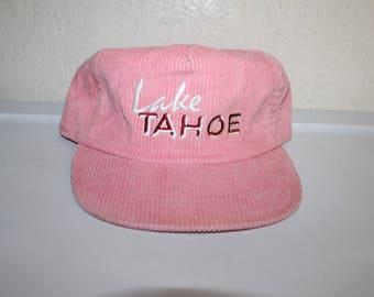 Vintage 90's Lake Tahoe Corduroy Strapback Hat