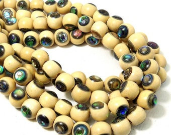 Whitewood with Abalone Shell Inlay, 10mm, Round, Natural Wood and Shell, Handmade Artisan Bead, 8 Inch Strand - ID 2185