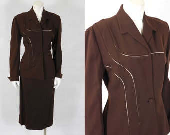 1940 Vintage Lilli Ann Chocolate Brown Wool Gabardine Suit Excellent