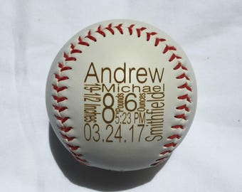 Personalized Birth Announcement Baseball, Baby Birth Announcement, Custom Baseball, Newborn Stats, Engraved Baseball, Baby Boy Gift