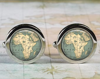 Africa cuff links, Africa map cufflinks wedding gift anniversary gift for groom gift for him groomsmen gift for best man Father's Day gift