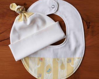 Yellow Teething Bib and Baby Hat Set; Handmade Baby Gift; Organic Cotton, Woodland Newborn Baby Cap and Drool Bib Gift; Tree Stripes Yellow