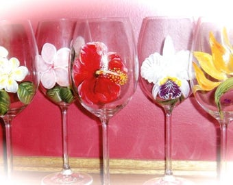 Tropical Flower Hand Painted Wine Glass