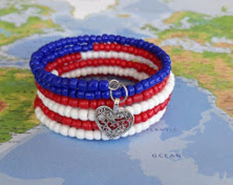 Red, White and Blue Seed Beads on Memory Wire Bracelet, Wrap Bracelet, Coil Bracelet, Beaded Bracelet, Jewelry