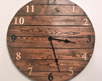 Large 60cm Handcrafted Rustic Wooden Clock, Made to Order