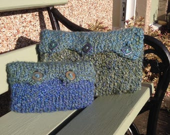 Colourful Cosy Modern Cushion Set in blues and greens with handmade groovy buttons