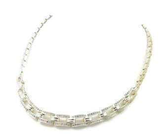 Clear Rhinestone Silver Tone Choker Necklace Bridal Jewelry Holiday Gift Ideas Adjustable High End Vintage Costume Jewelry