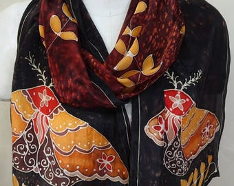 Gold Moth on Red and Burgundy -  Hand Painted Silk Scarf - Large Silk Scarf 14x72 inches - one of a kind wearable art