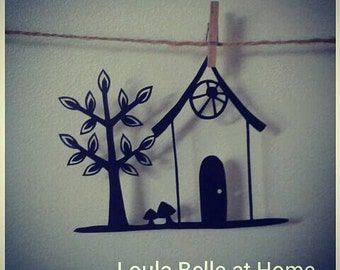 Little House, an original mini papercut template by Loula Belle at Home