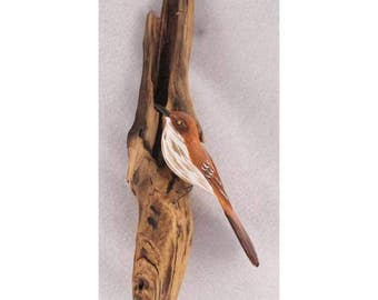 Brown Thrasher - left facing. Handcrafted, carved  wooden bird, painted bird, home decor, wall decor, Made in USA