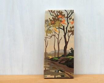 Paint by Number Art Block 'Fall Farm Scene' - autumn landscape, fall, vintage, trees