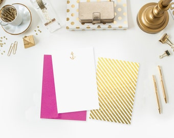 Gold Anchor Notecards - Set of 10