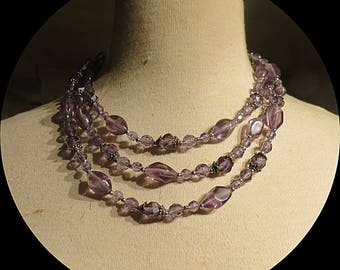 Purple Three strands Lucite Beaded Necklace  # 038