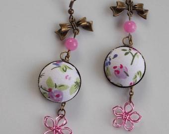 Earrings … … some flowers... jade bead