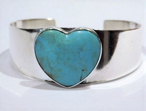 Vintage Turquoise Cuff / Turquoise Heart Cuff /  Jay King / Sterling Silver