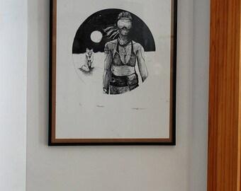 Fox-Warrior Moon art print Visual limited dystopia