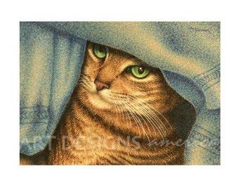 ACEO Gold Tabby Cat Art Print, Cat Peeking thru Towels, Archival Art Print, SFA Small Format Art, Artist Trading Card, Cat Pastel, ADA-P314