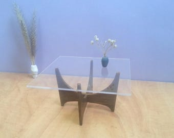 Glass & Wood Square  COFFEE TABLE 1/6 _ 1/12 ,Collectible Dollhouse Miniature Furniture,Modern Design,60's