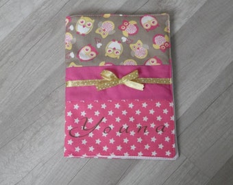 Protects health record patterns owls - pink stars personalized