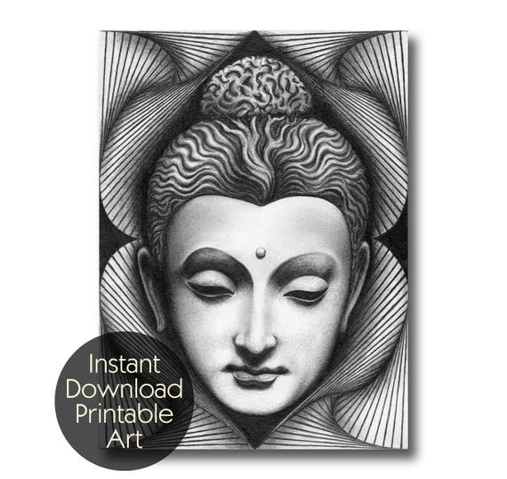 Buddha gautama siddhartha pencil drawing art instant