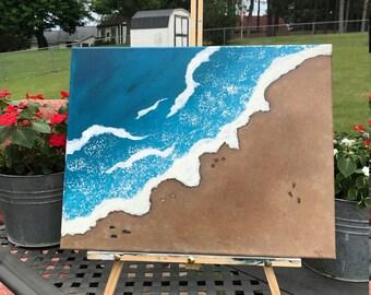 Sandy Beach, Acyrlic Painting on Canvas, 14x18