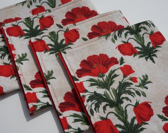 Poppy Cloth Napkins, Floral Napkins, Everyday Napkins, Large Napkins, Reversible, Set of 4, Red Poppy Flowers, Red and Green, Dinner Napkins