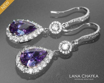Purple chandelier etsy amethyst crystal earrings free us shipping purple chandelier earrings amethyst cz teardrop bridal earrings sparkly halo mozeypictures Gallery
