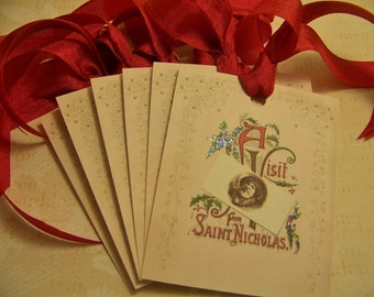 Christmas Tags Saint Nicholas Shabby Vintage Style Ornaments Favors Gift Set of 6 or 9