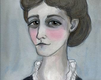 Edith Wharton, Literary Portrait Print, Victorian Writer Art (6x8) The Age of Innocence Writer