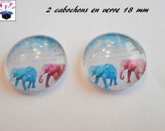 2 glass cabochons domed 18mm elephant theme